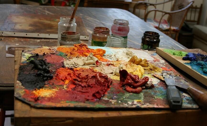 palette de l'artiste peintre